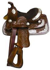"Fully Tooled Pony Miniature Horse Show Saddle Semi QH Bars 8"" 2 Colors NEW"