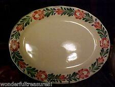"""HUGE 18"""" L OVAL Ceramic Platter Albert Kessler & Co. Japan HP FLOWERS & LEAVES!"""