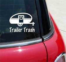 TRAILER TRASH WHITE TRAVEL TEARDROP GRAPHIC DECAL STICKER ART CAR WALL DECOR
