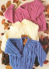 "Irish Baby/Kids Cardigan Round/V & Sweater  22""-32"" Aran Knitting Pattern"