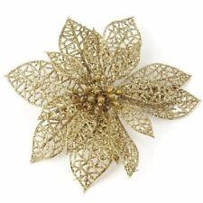 "3"" Gold Glitter Christmas Poinsettia Flower Clip On Xmas Tree Decor Ornament"