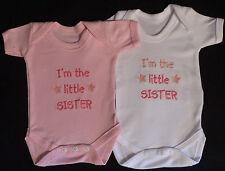 Yo soy la hermana pequeña bebé Chaleco crecer Bebés Ropa Regalo Divertido Niño Niña Rosa