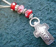 "Antique Inspired Cross ID Lanyard Red Murano Beads-Nurse RN Teacher- 31"" L"