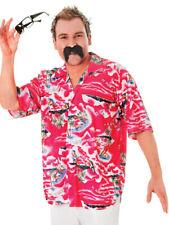 Mens Hawaiian Shirt Stag Retro Beach Luau Tropical Aloha Fancy Dress Top Std New