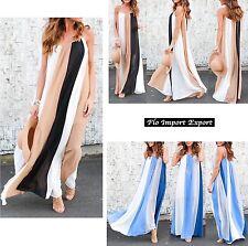 Vestito Donna Abito Lungo Chiffon Colori a Strisce - Woman Maxi Dress 110313