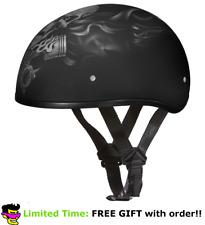 Daytona Pistons Skeleton Skull Cap DOT Slim Motorbike Motorcycle Helmet 2XS-2XL