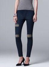 NEW Simply Vera Wang Womens Ripped Frayed Denim Leggings Blue Jean Pants S M NWT