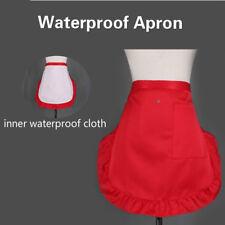 Waterproof Women Frilly Half Short Waist Apron w/Pockets Chef Cafe Server Waiter