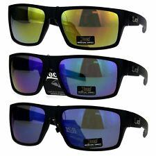 Locs Mens Mirror Color Lens Oversize Plastic Sport Gangster Sunglasses
