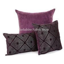 NEUF doux tissé tranchant Géométrique Motif Violet Argent brillant tissu COUSSIN