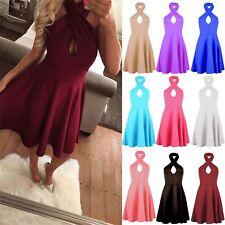 Ladies Womens Keyhole Halter Neck Dress Sleeveless Backless Skater Dress UK 8-14