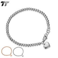 TT 4mm Stainless Steel Beaded Dangle Love Heart Bracelet Silver/Rose (CBF11)