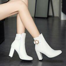 Lady Square Toe Rhinestone Ankle Boots High Block Heel Shoe Fashion Women Bootie