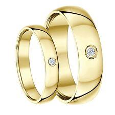 El Y Ella 4 Y 6mm 9 Ct Oro Amarillo Diamante Corte Pesado Alianza