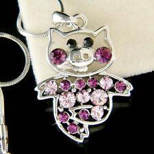 w Swarovski Crystal ~Purple Little PIG~ Piggy Piglet Charm Pendant Necklace Cute