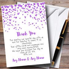 Corazón púrpura Confeti Personalizado De Boda Tarjetas de Agradecimiento