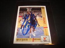 1992 NBA UPPER DECK #168 WILLIE BURTON HEAT Minnesota SIGNED AUTHENTIC AUTOGRAPH