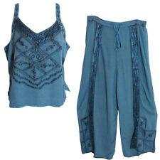 Bohemian Embroidered Denim Blue Stonewash Yoga Blouse & Wrap Pants Set #3