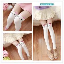 Fashion Girl Kid Cartoon Velvet Pantyhose Stitching Stocking White 5-12 Year Old