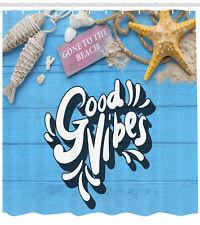 Good Vibes Shower Curtain Summer Beach Holiday Print for Bathroom