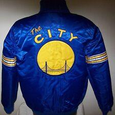 GOLDEN STATE WARRIORS Starter REVERSIBLE Satin Jacket S M L XL 2X BLUE & WHITE