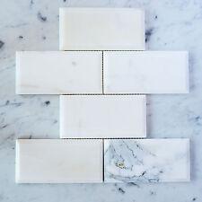 Calacatta Gold Marble Subway Bevelled Mosaic Tiles (Sheet)