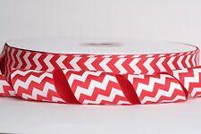 "White Chevron POPPY RED 1.5"" Grosgrain Ribbon 1, 5, 10 Yards SHIP FROM USA"