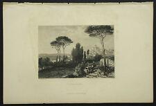 1850c:VEDUTA DI FRASCATI.ROMA.Steel Engraving.GROTTAFERRATA - AETNA.ITALIA.
