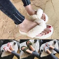 Women Faux Fur Slippers Slides Style Flat Sandals Slip On Shoes Home Flip Flop+