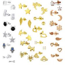 925 Sterling Silver Unicorn Heart Star Angel Moon Studs Earrings Gold Rose Gold