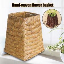 Hand Woven Wicker Willow Storage Basket Hamper Organizer Flower Vase Pot Decor