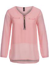 B15010666 Damen Madonna Bluse Turn Up Zipper vorne 2fake Brusttaschen rose rosa