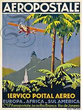 REPRO DECO AFFICHE AEROPOSTALE SERVICO POSTAL AEREO AVION PAPIER 190 OU 310 GRS