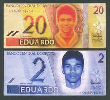 BRAZIL  20 & 2 Eduardo ND(2000s) XF Footballer EDUARDO DA SILVA propaganda note