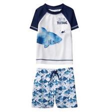 NWT Gymboree Baby Boy Rash Guard Shark Shorts Set UPF 50+ Swimsuit