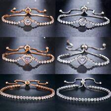 New Round Tennis Bracelet Womens Cubic Zircon Charm Bangles Wedding Jewellery