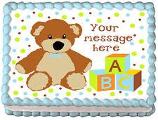 TEDDY BEAR Baby shower BOYS Image Edible cake topper decoration