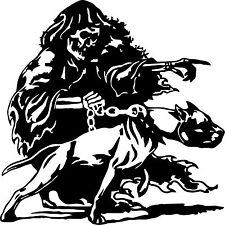 Grim Reaper Pitbull Dog Chain Skull Car Truck Window Vinyl Decal Sticker