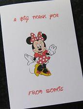 Personalizados Minnie Mouse gracias card/invitation Niñas Cumpleaños Chicos Niños