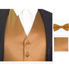 Tan Gold MEN's Vest Waistcoat and Straight Cut Bow Tie Set Suit / Tuxedo Wedding