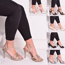 Damas Mujeres Tacón Alto Peep Toe brillo y Correa en el Tobillo Zapato De Novia Boda Talla 3-8