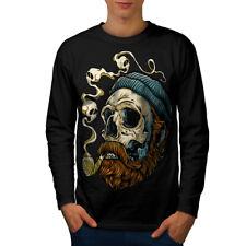 Head Face Beard Skull Men Long Sleeve T-shirt NEW   Wellcoda