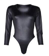 Womens New Wet Look Long Sleeve Black PVC Pu Bodysuit Top Leotard Plus Size