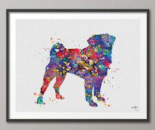 PUG DOG Watercolor Print Dog Lover Gift Wall Decor Art