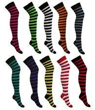 Nuevas señoras Stripe Stripy a rayas en la rodilla alto del muslo calcetines Muchos Colores 4-6
