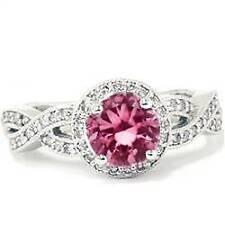 1 5/8ct Pink Tourmaline Halo Engagement Twist Diamond Ring 14K White Gold