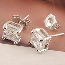 Plata esterlina 925 Cubic Zirconia Cubo de Cristal Aretes Pendientes UK Jewellery ER44