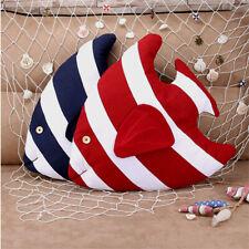 Striped Fish Throw Pillow Sofa Decor Cushion Cotton Linen Mediterranean Boy Toy