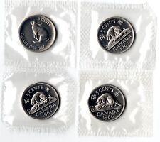 1x moneda 5 C cinco Centavos De Canadá prueba UNC grado: 1964 1965 1966 1967