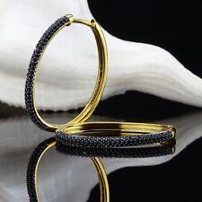 Orecchini a cerchio ovale 35 mm ø Zirconia nero placcato oro 750 18 kt